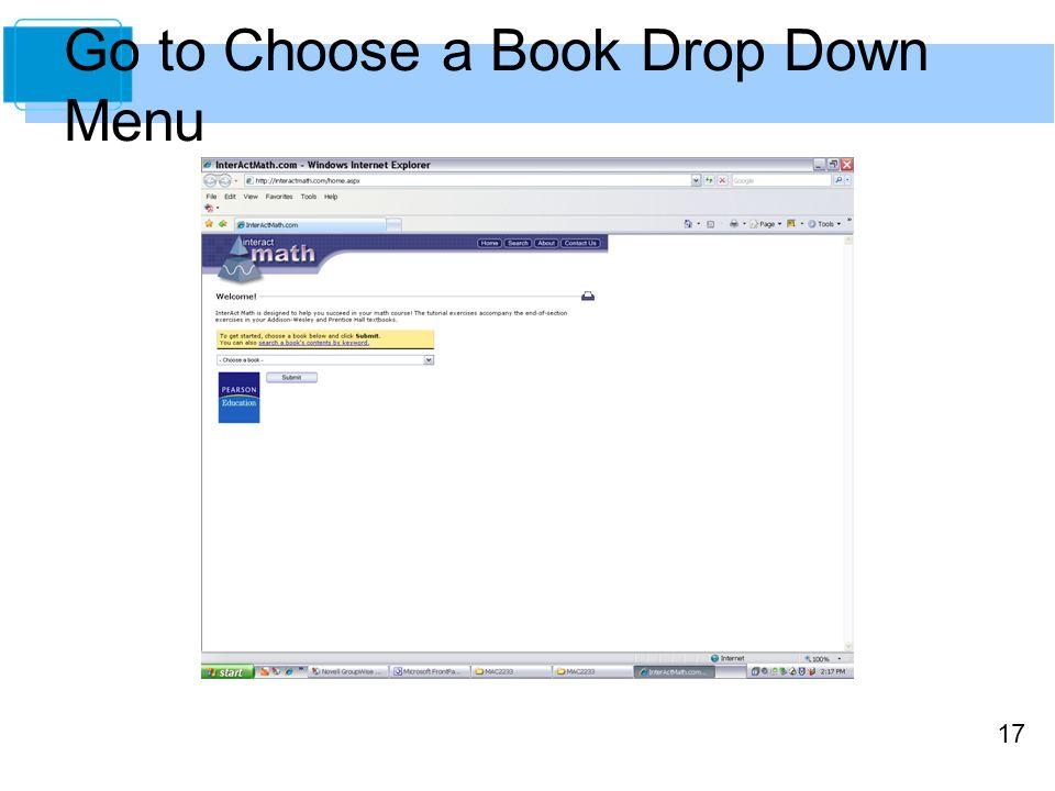 17 Go to Choose a Book Drop Down Menu