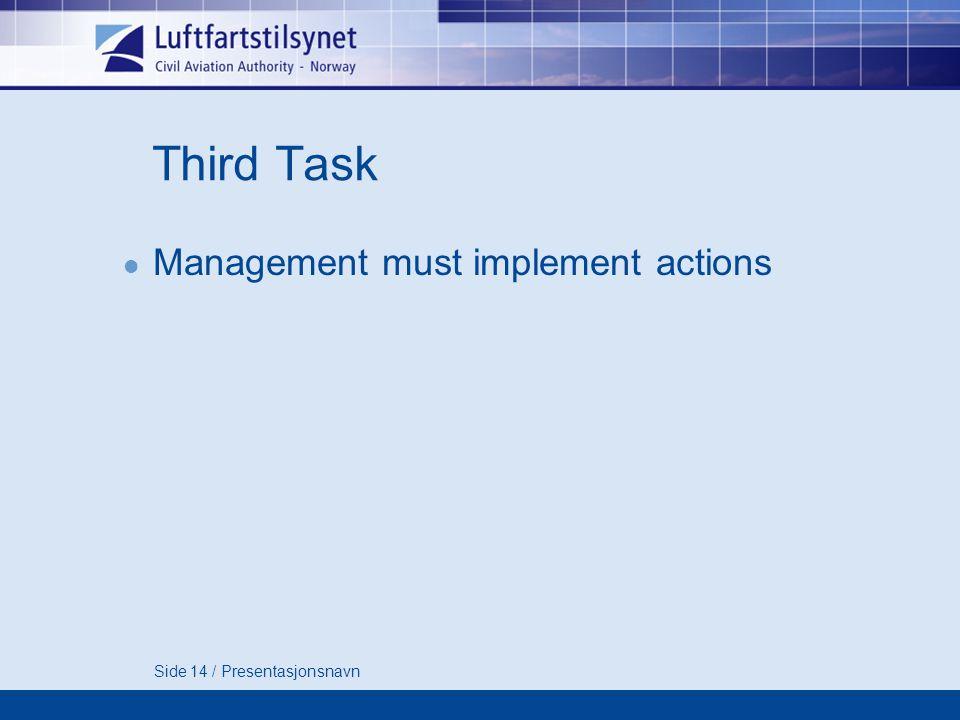Side 14 / Presentasjonsnavn Third Task Management must implement actions