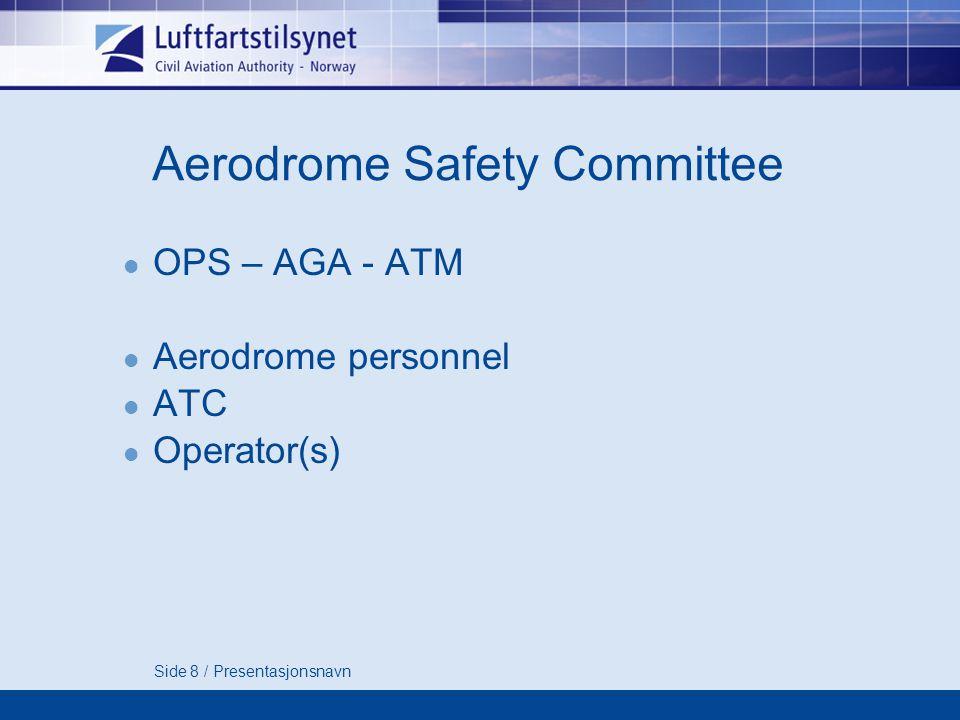 Side 8 / Presentasjonsnavn Aerodrome Safety Committee OPS – AGA - ATM Aerodrome personnel ATC Operator(s)