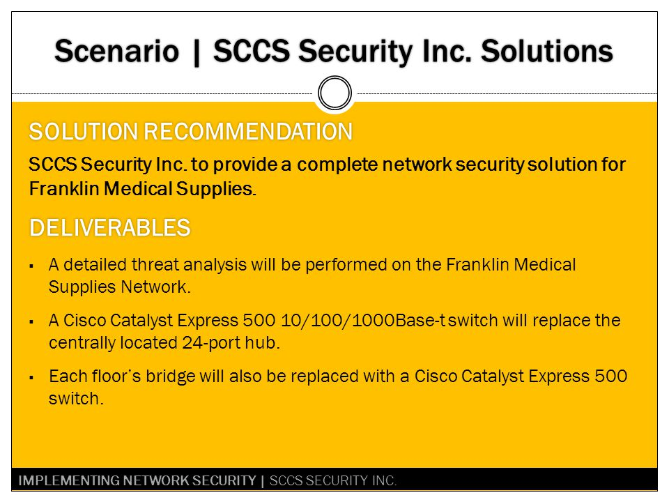 Scenario | SCCS Security Inc.