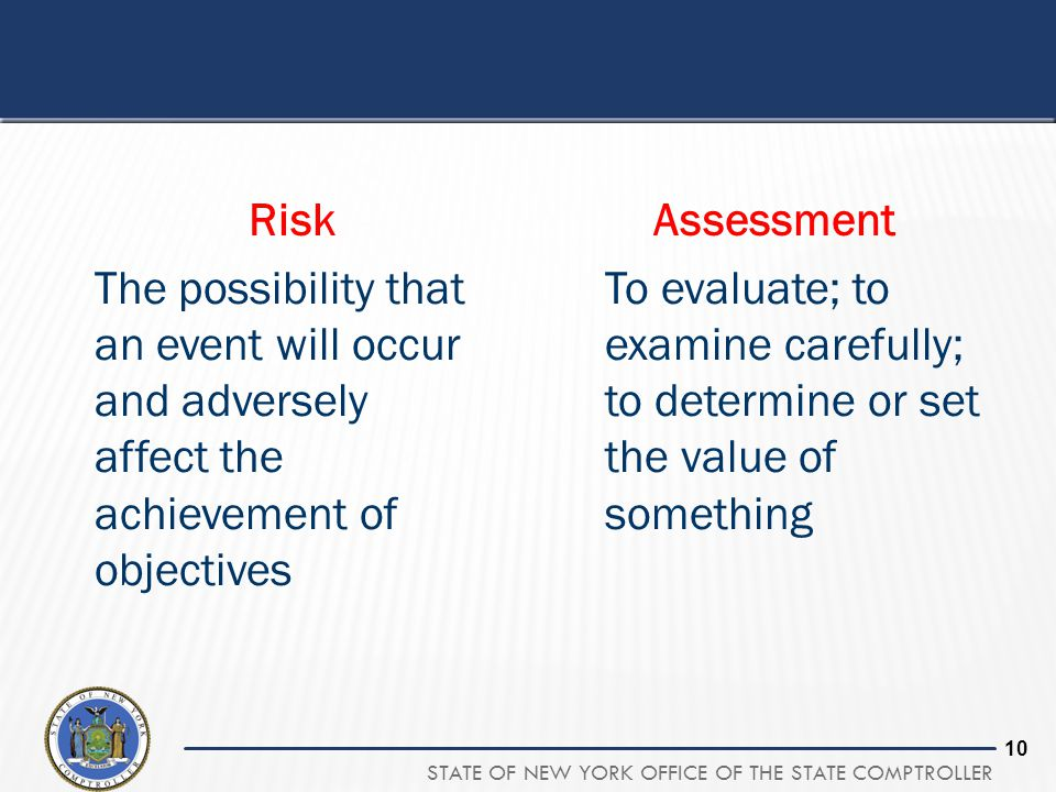 STATE OF NEW YORK OFFICE OF THE STATE COMPTROLLER 10 Risk The possibility that an event will occur and adversely affect the achievement of objectives Assessment To evaluate; to examine carefully; to determine or set the value of something