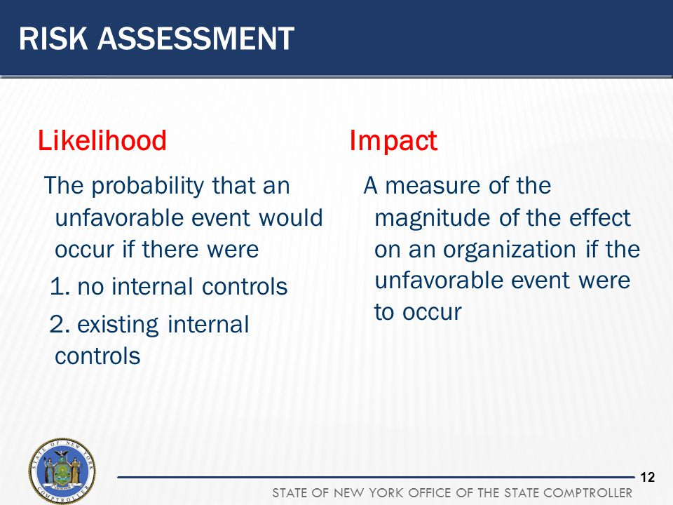 STATE OF NEW YORK OFFICE OF THE STATE COMPTROLLER 12 RISK ASSESSMENT Likelihood The probability that an unfavorable event would occur if there were 1.