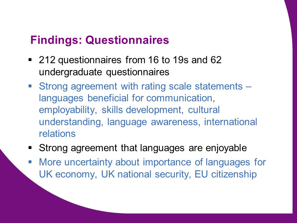 Findings: Questionnaires  212 questionnaires from 16 to 19s and 62 undergraduate questionnaires  Strong agreement with rating scale statements – lan