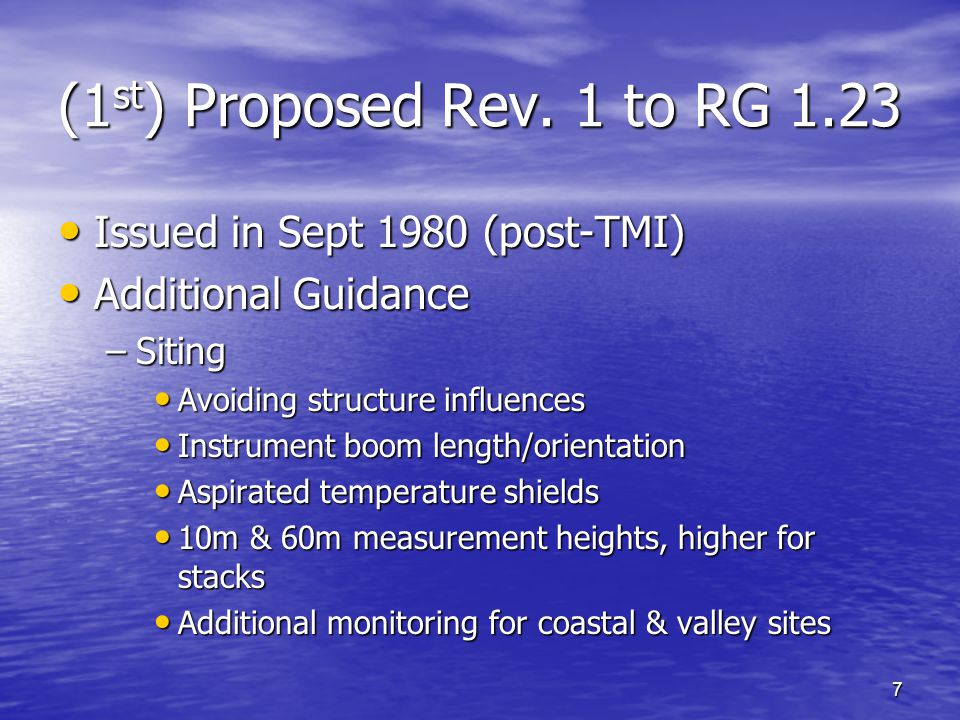 18 ANSI/ANS-3.11-2005 Data Base Management Data Base Management –Representative Site Data Bases 3-5 yrs of onsite data for dispersion calculations 3-5 yrs of onsite data for dispersion calculations –Data Validation Techniques Compare to expected range of values, redundant sensors, other tower levels, other data sources, etc.
