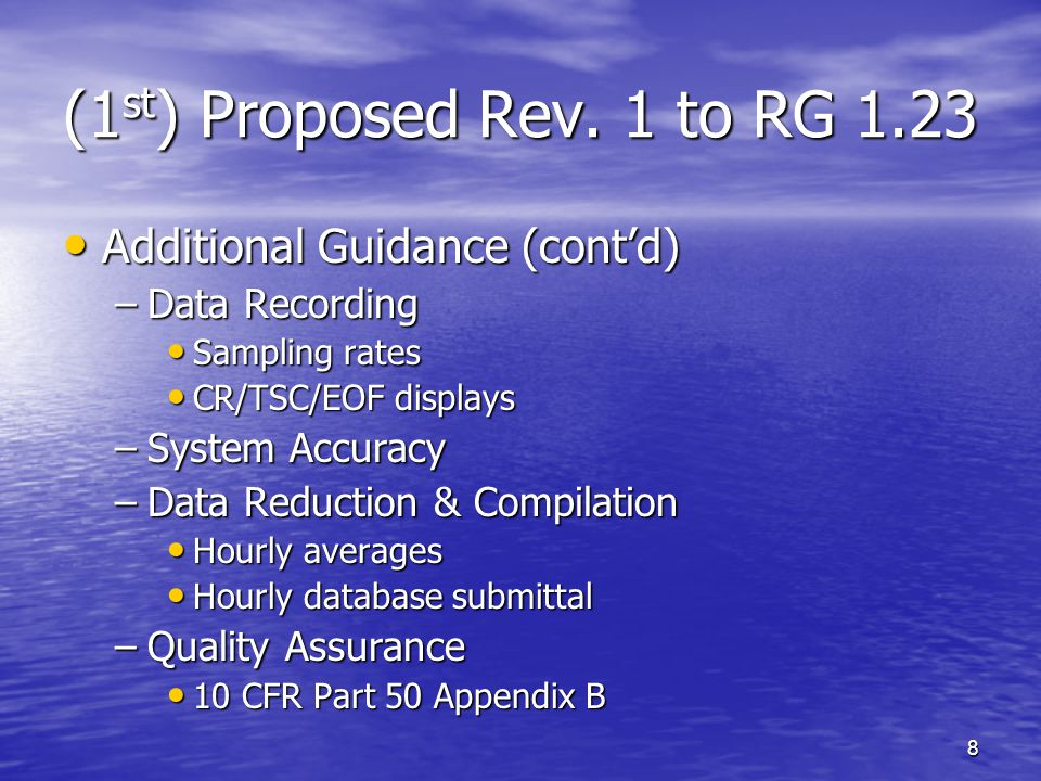 19 ANSI/ANS-3.11-2005 Data Base Management (cont'd) Data Base Management (cont'd) –Data Recovery Rates 90% annually, individual channels and composite WS/WD/DT joint frequency distributions 90% annually, individual channels and composite WS/WD/DT joint frequency distributions –Data Archiving Retain raw data for 5 years, valid hourly data for life of facility Retain raw data for 5 years, valid hourly data for life of facility –Data Reporting Annual joint frequency distributions Annual joint frequency distributions