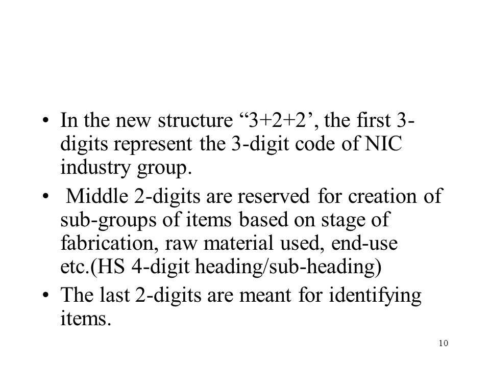"10 In the new structure ""3+2+2', the first 3- digits represent the 3-digit code of NIC industry group. Middle 2-digits are reserved for creation of su"