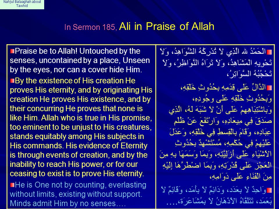 Nahjul Balaaghah about Tawhid In Sermon 185, Ali in Praise of Allah Praise be to Allah! Untouched by the senses, uncontained by a place, Unseen by the