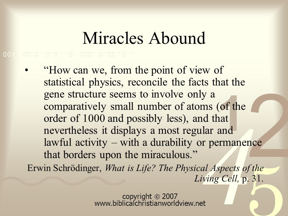 Miracles Abound How can we, from the point of view of statistical physics, reconcile the facts that the gene structure seems to involve only a comparatively small number of atoms (of the order of 1000 and possibly less), and that nevertheless it displays a most regular and lawful activity – with a durability or permanence that borders upon the miraculous. Erwin Schrödinger, What is Life.