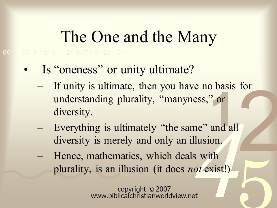 The One and the Many Is oneness or unity ultimate.