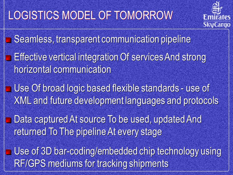 LOGISTICS MODEL OF TOMORROW Seamless, transparent communication pipeline Effective vertical integration Of services And strong horizontal communication Use Of broad logic based flexible standards - use of XML and future development languages and protocols Data captured At source To be used, updated And returned To The pipeline At every stage Use of 3D bar-coding/embedded chip technology using RF/GPS mediums for tracking shipments