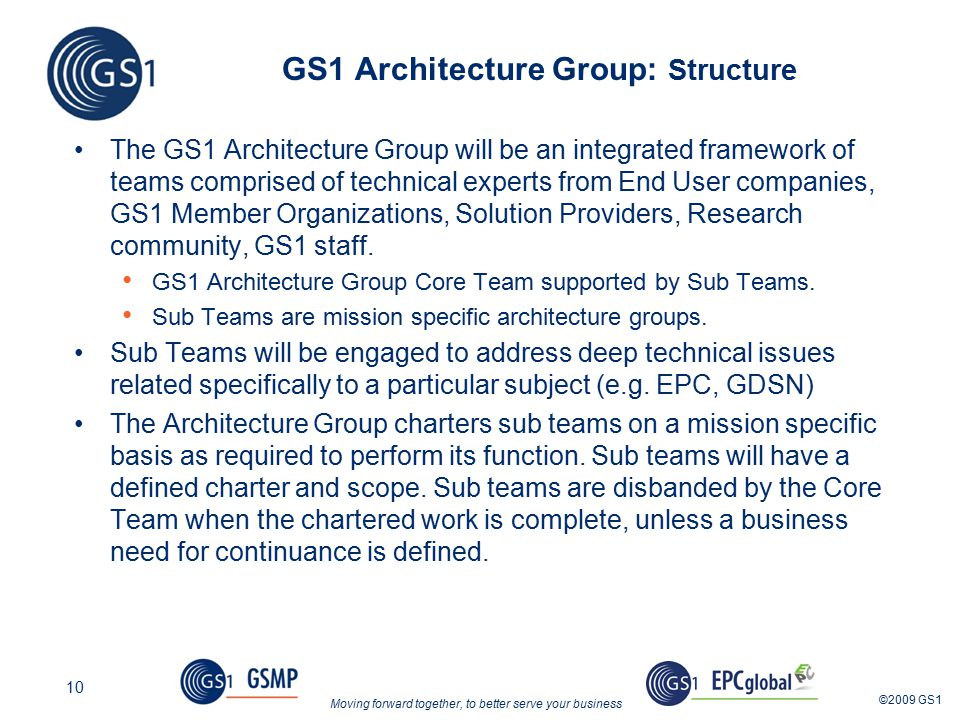 Moving forward together, to better serve your business ©2009 GS1 10 GS1 Architecture Group: Structure The GS1 Architecture Group will be an integrated framework of teams comprised of technical experts from End User companies, GS1 Member Organizations, Solution Providers, Research community, GS1 staff.