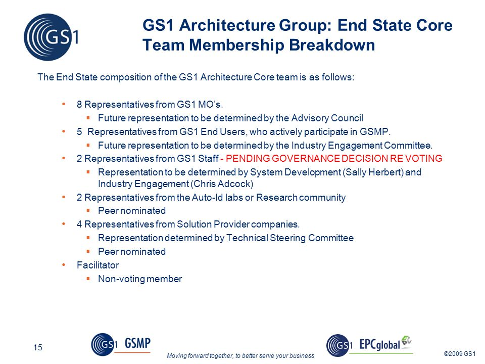 Moving forward together, to better serve your business ©2009 GS1 15 GS1 Architecture Group: End State Core Team Membership Breakdown The End State composition of the GS1 Architecture Core team is as follows: 8 Representatives from GS1 MO's.