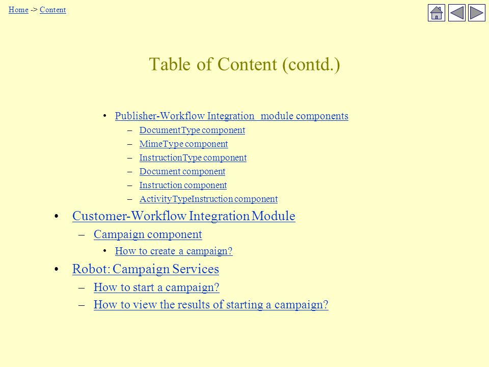 Table of Content (contd.) Publisher-Workflow Integration module components –DocumentType componentDocumentType component –MimeType componentMimeType component –InstructionType componentInstructionType component –Document componentDocument component –Instruction componentInstruction component –ActivityTypeInstruction componentActivityTypeInstruction component Customer-Workflow Integration Module –Campaign componentCampaign component How to create a campaign.