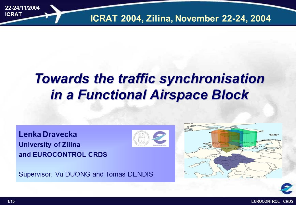 EUROCONTROL CRDS 22-24/11/2004 ICRAT 1/15 ICRAT 2004, Zilina, November 22-24, 2004 Towards the traffic synchronisation in a Functional Airspace Block