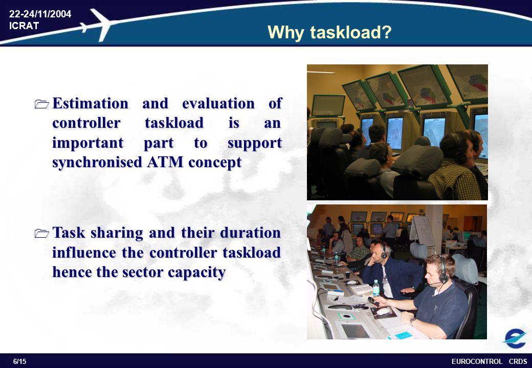 EUROCONTROL CRDS 22-24/11/2004 ICRAT 6/15 Why taskload.