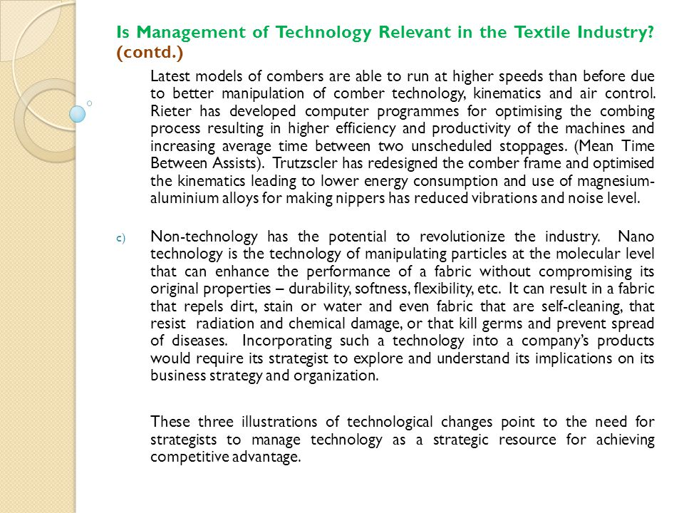 Is Management of Technology Relevant in the Textile Industry.