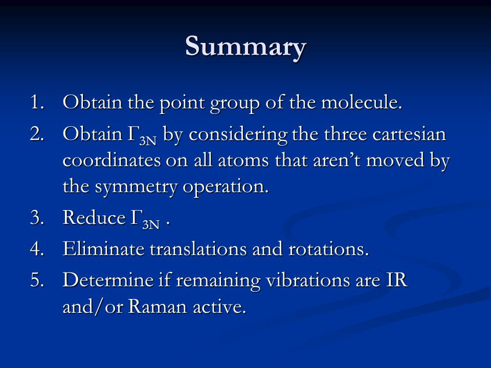 Summary 1.Obtain the point group of the molecule.