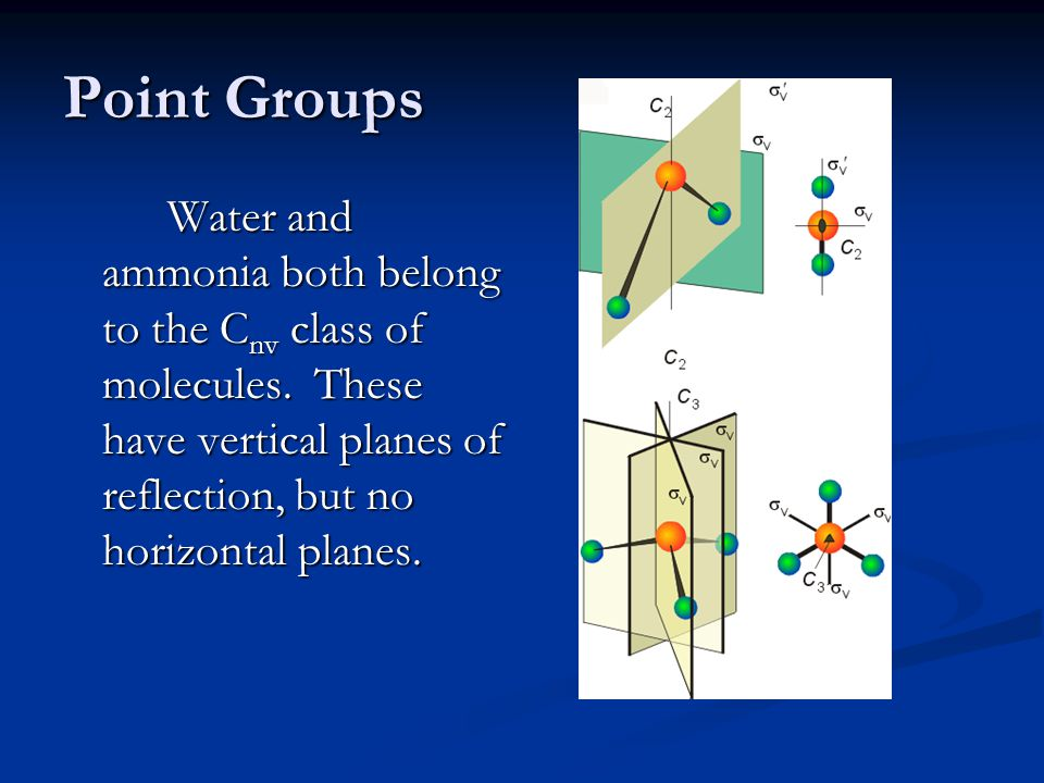 Point Groups Water and ammonia both belong to the C nv class of molecules.
