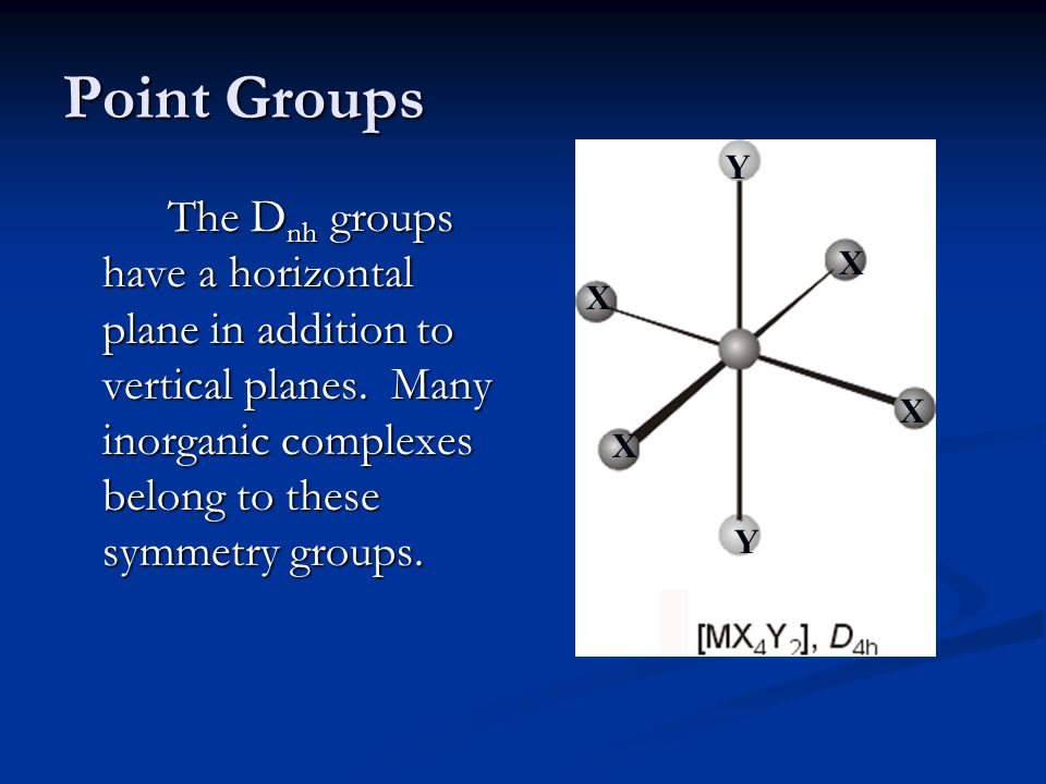 Point Groups The D nh groups have a horizontal plane in addition to vertical planes.