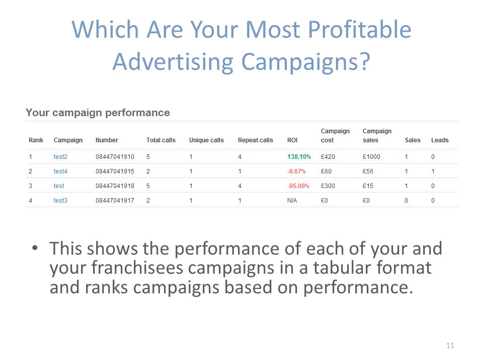 Which Are Your Most Profitable Advertising Campaigns.