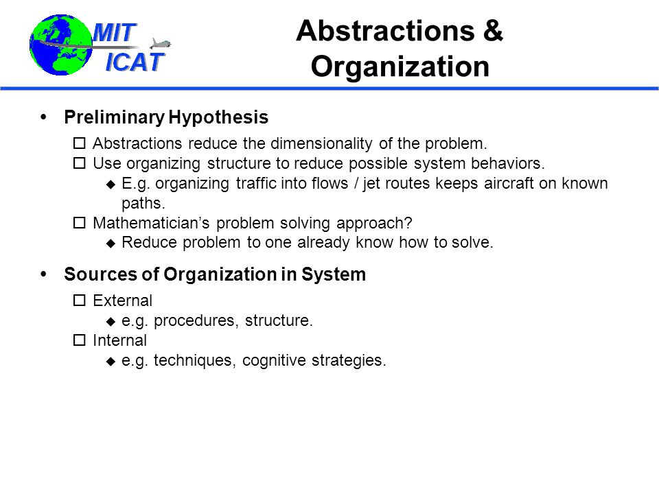Abstractions & Organization  Preliminary Hypothesis  Abstractions reduce the dimensionality of the problem.