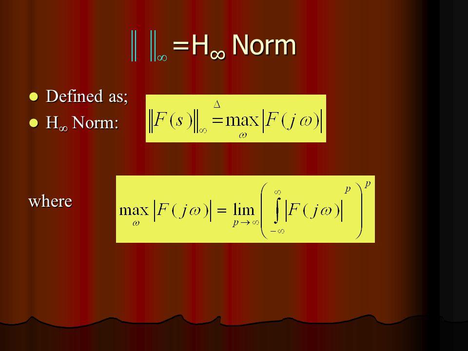 =H ∞ Norm Defined as; Defined as; H ∞ Norm: H ∞ Norm:where