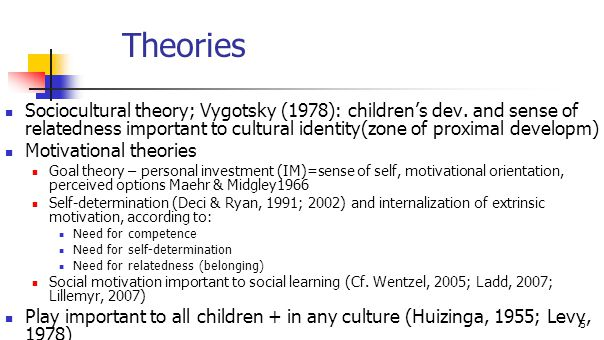 5 Theories Sociocultural theory; Vygotsky (1978): children's dev. and sense of relatedness important to cultural identity(zone of proximal developm) M