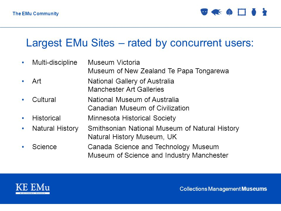 Collections Management Museums The EMu Community Largest EMu Sites – rated by concurrent users: Multi-disciplineMuseum Victoria Museum of New Zealand Te Papa Tongarewa ArtNational Gallery of Australia Manchester Art Galleries CulturalNational Museum of Australia Canadian Museum of Civilization HistoricalMinnesota Historical Society Natural HistorySmithsonian National Museum of Natural History Natural History Museum, UK ScienceCanada Science and Technology Museum Museum of Science and Industry Manchester