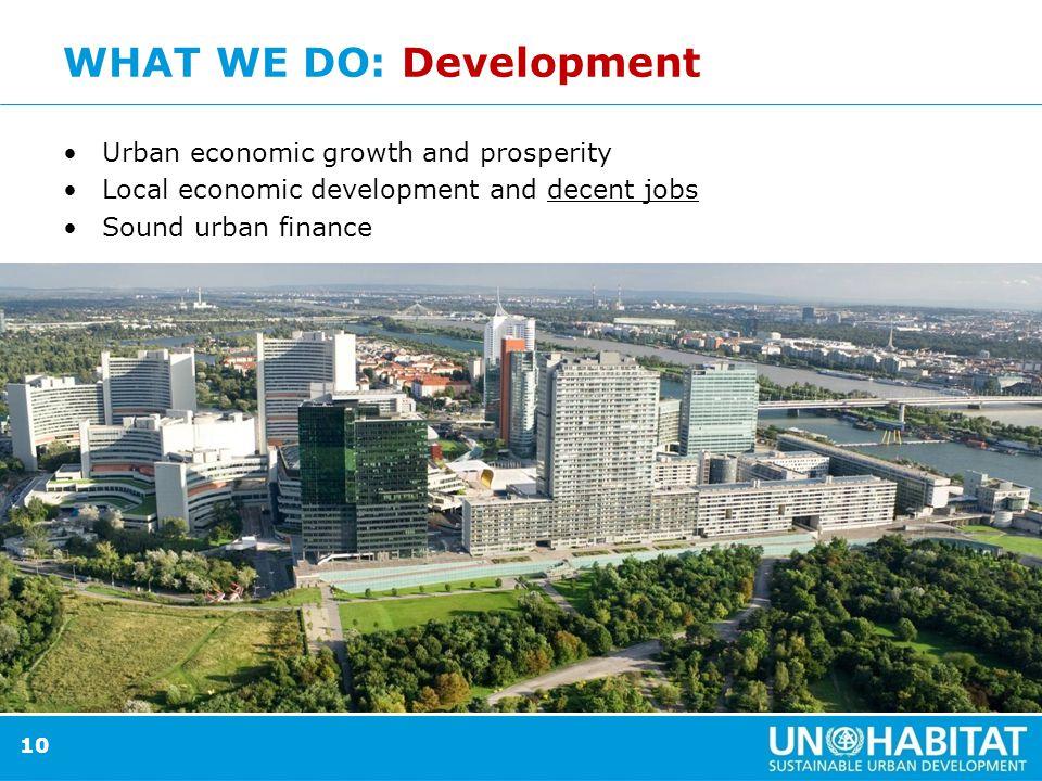 10 WHAT WE DO: Development Urban economic growth and prosperity Local economic development and decent jobs Sound urban finance