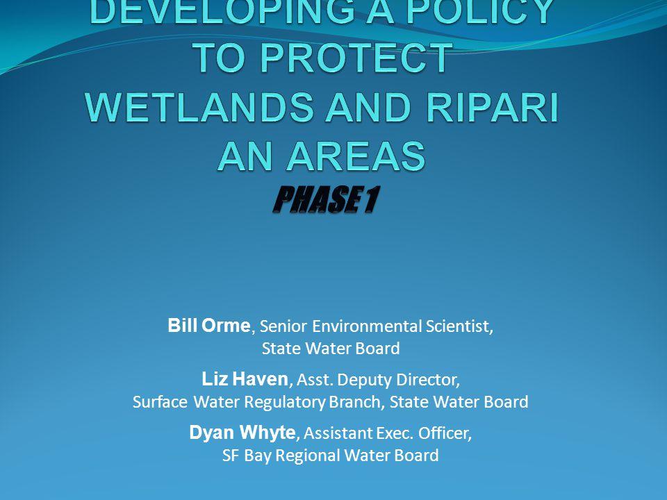 Bill Orme, Senior Environmental Scientist, State Water Board Liz Haven, Asst. Deputy Director, Surface Water Regulatory Branch, State Water Board Dyan