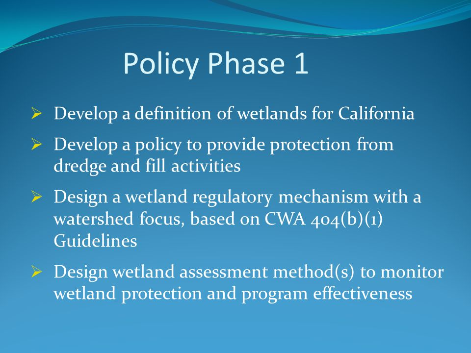 Policy Phase 2  Expand the policy to protect wetlands from all other activities impacting water quality  Develop new or revised definitions of beneficial uses  Develop water quality objectives to protect beneficial uses  Design an implementation program to achieve objectives and protect wetland functions