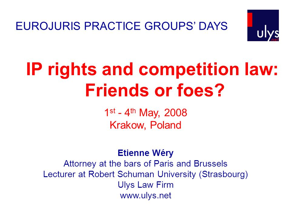 General introduction to IP right and competition law