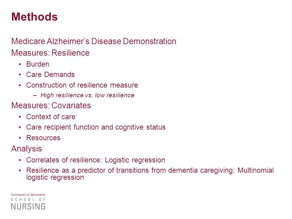 Methods Medicare Alzheimer's Disease Demonstration Measures: Resilience Burden Care Demands Construction of resilience measure –High resilience vs.
