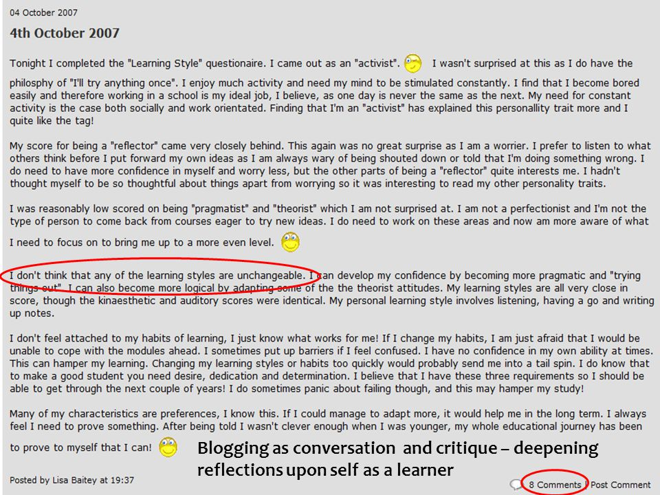 Blogging as conversation and critique – deepening reflections upon self as a learner