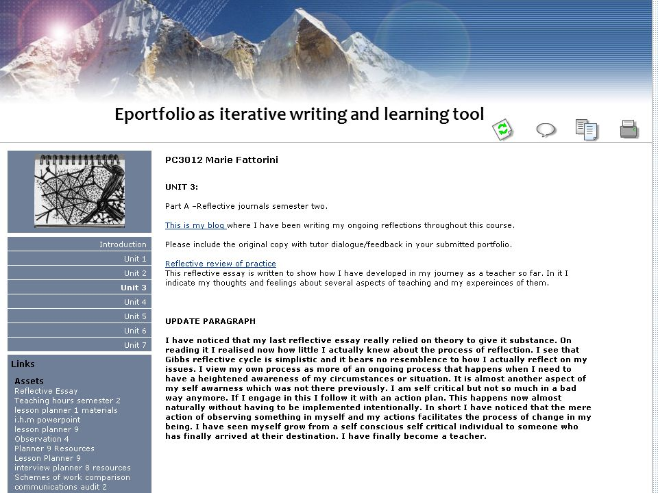 Eportfolio as iterative writing and learning tool