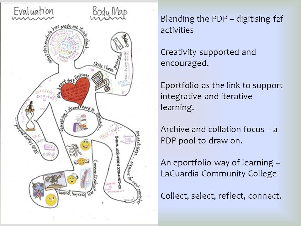Blending the PDP – digitising f2f activities Creativity supported and encouraged.