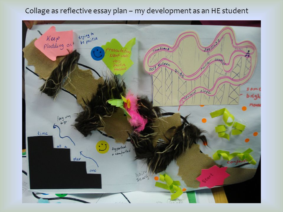 Collage as reflective essay plan – my development as an HE student