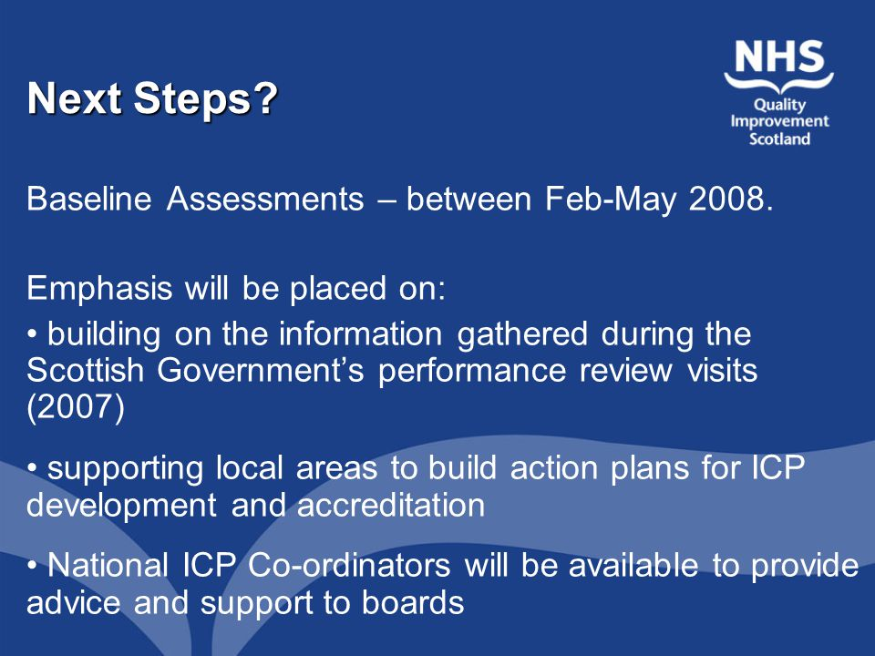 Next Steps. Baseline Assessments – between Feb-May 2008.
