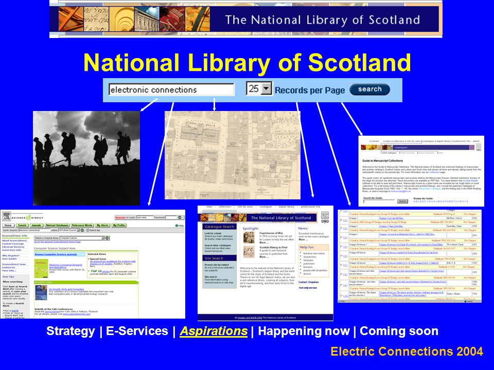 Electric Connections 2004 National Library of Scotland Strategy | E-Services | Aspirations | Happening now | Coming soon