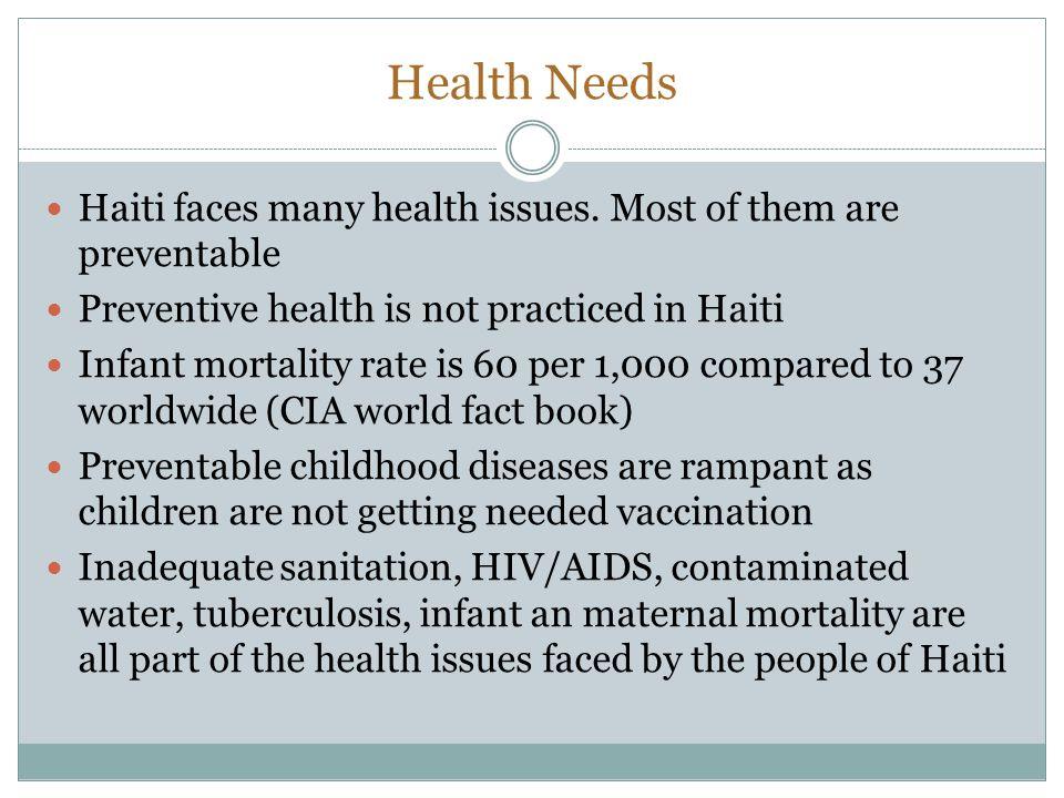 Health Needs Haiti faces many health issues.