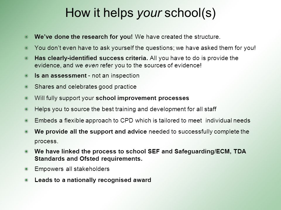 How it helps your school(s) We've done the research for you.