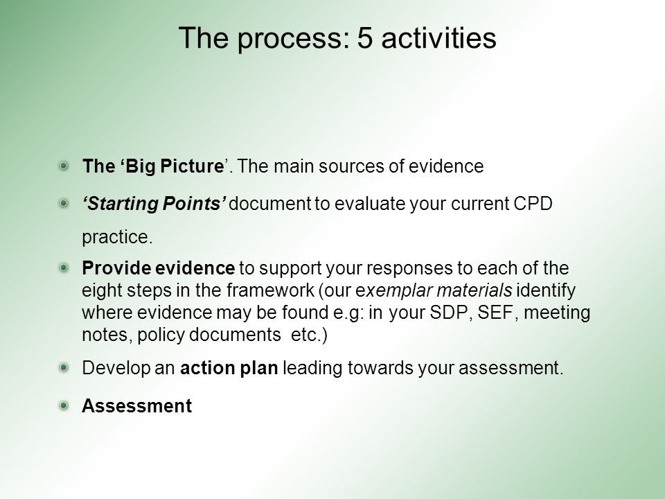 The process: 5 activities The 'Big Picture'.