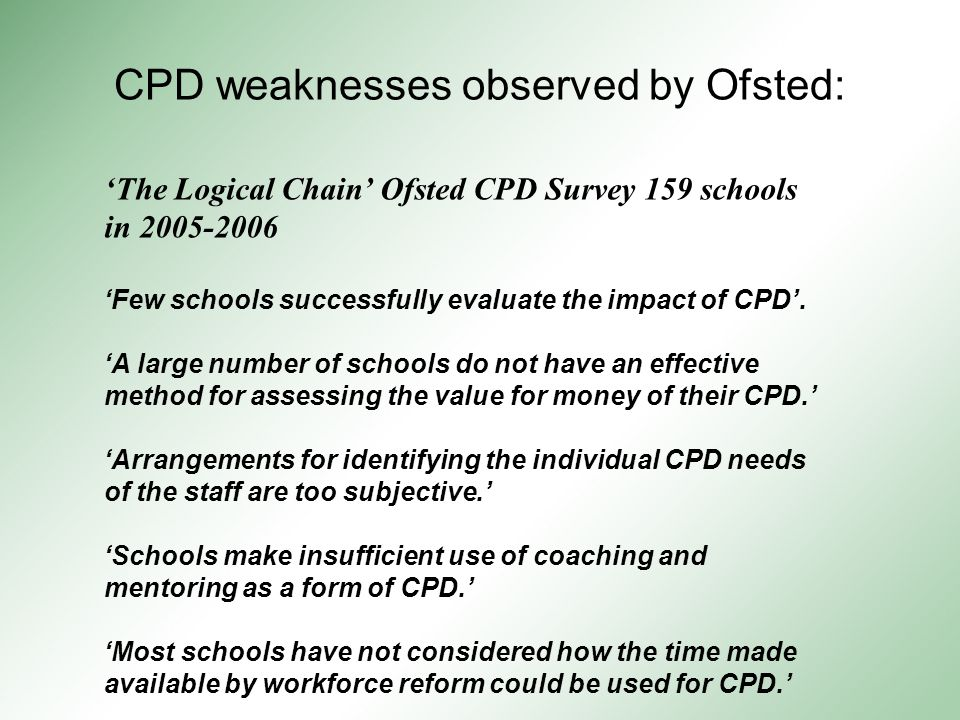 CPD weaknesses observed by Ofsted: 'The Logical Chain' Ofsted CPD Survey 159 schools in 2005-2006 'Few schools successfully evaluate the impact of CPD'.