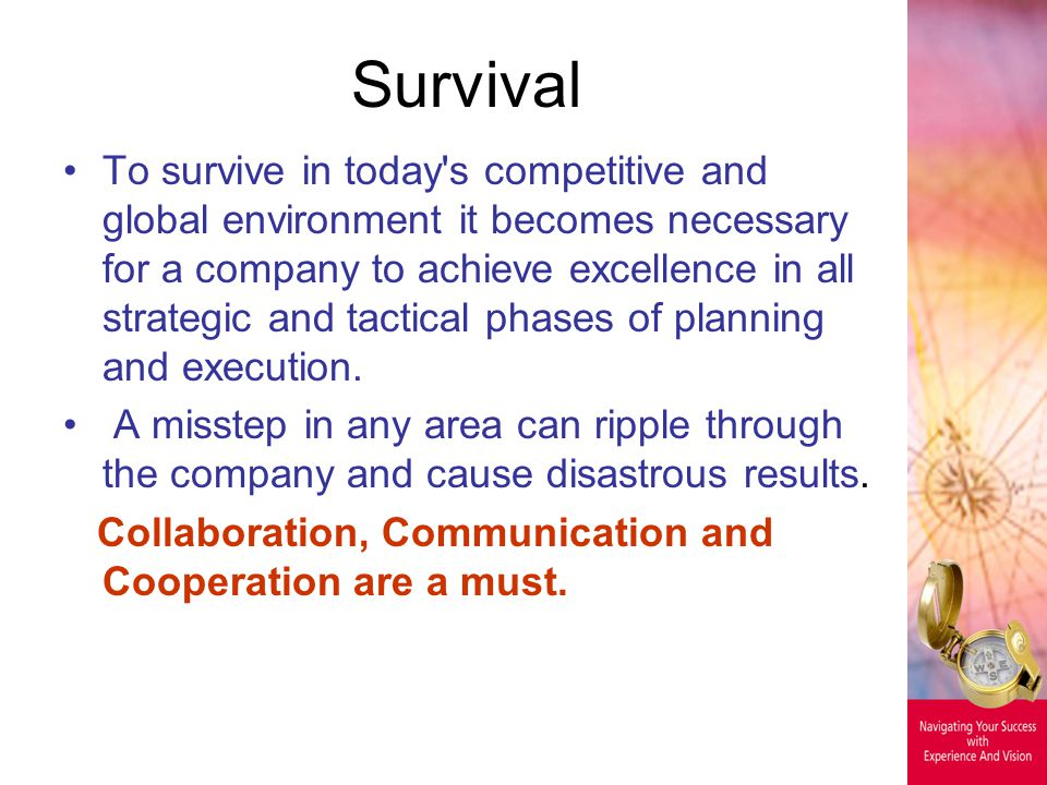 Survival To survive in today's competitive and global environment it becomes necessary for a company to achieve excellence in all strategic and tactic