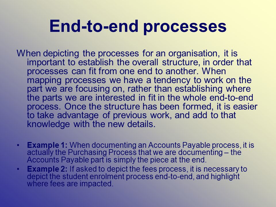 End-to-end processes When depicting the processes for an organisation, it is important to establish the overall structure, in order that processes can fit from one end to another.