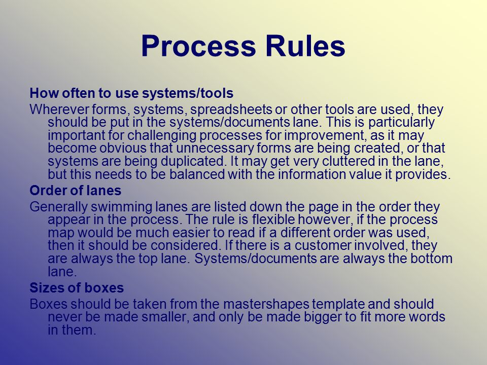 Process Rules How often to use systems/tools Wherever forms, systems, spreadsheets or other tools are used, they should be put in the systems/documents lane.