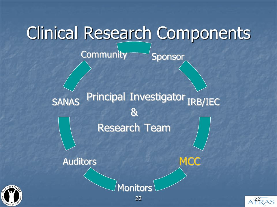 22 Clinical Research Components Principal Investigator & Research Team