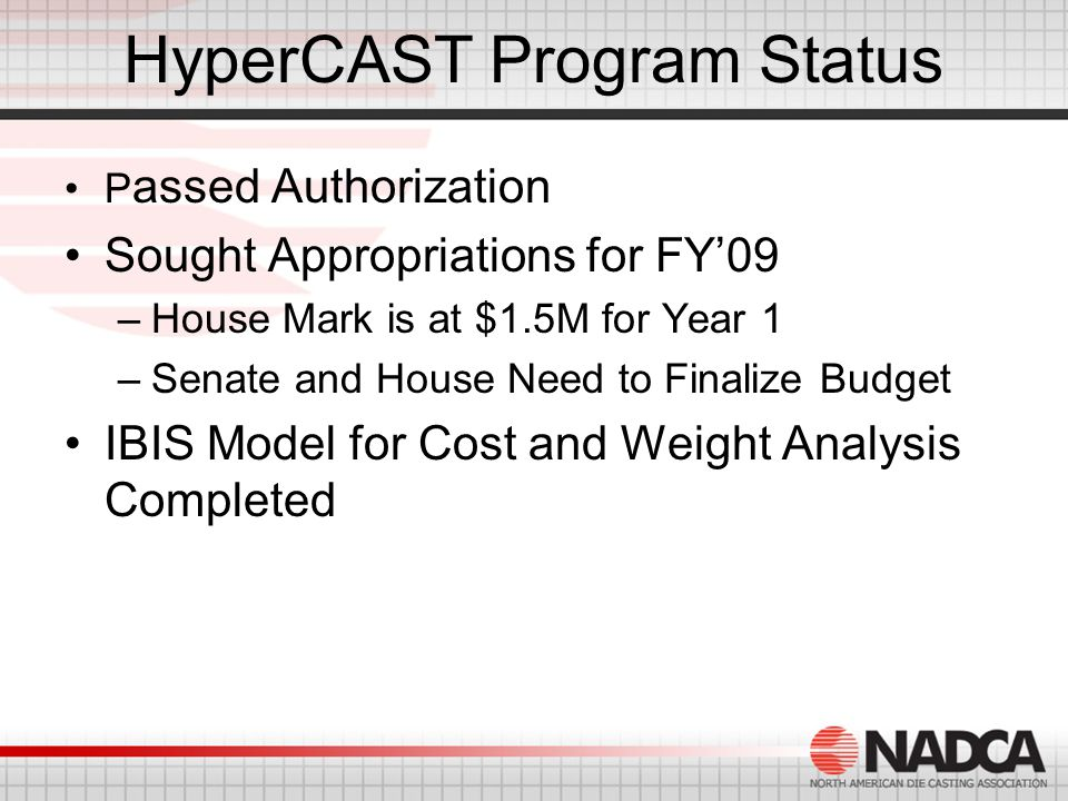 HyperCAST Program Status P assed Authorization Sought Appropriations for FY'09 –House Mark is at $1.5M for Year 1 –Senate and House Need to Finalize Budget IBIS Model for Cost and Weight Analysis Completed