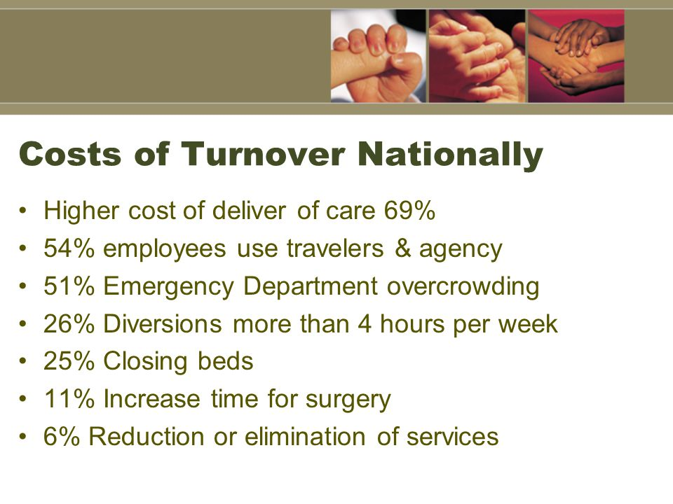 Costs of Turnover Nationally Higher cost of deliver of care 69% 54% employees use travelers & agency 51% Emergency Department overcrowding 26% Diversi