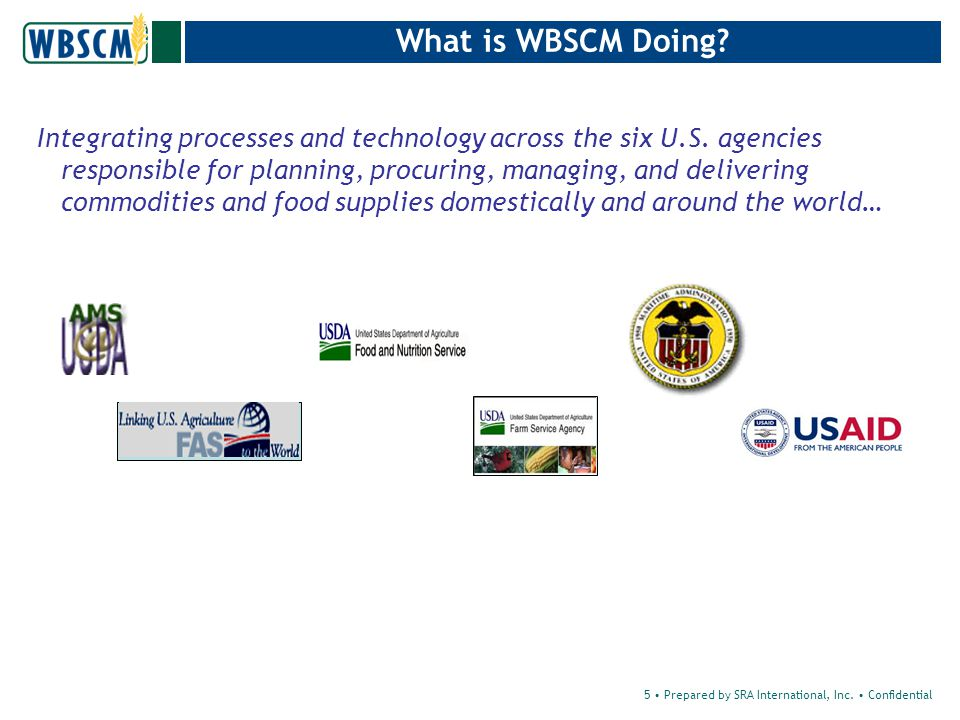 5 Prepared by SRA International, Inc. Confidential What is WBSCM Doing.